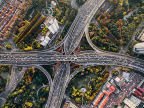 Busy highway interchange