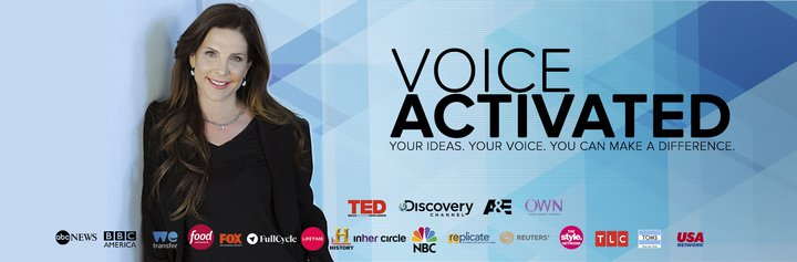 Blue banner with a photo of Bryn Freedman and the Voice Activated logo